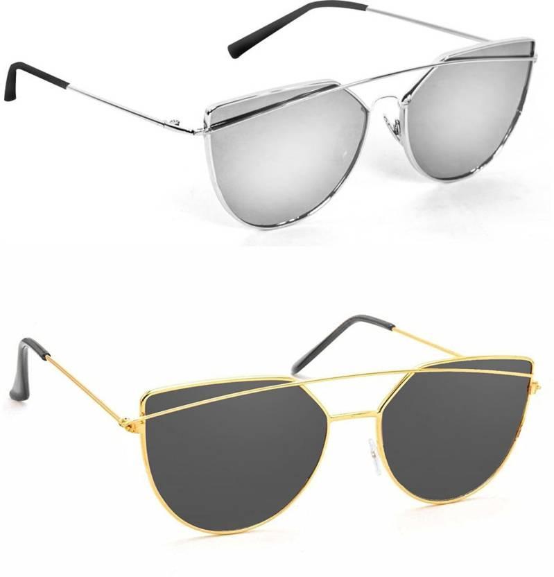 0322d989af7e Buy Hupshy Cat-eye Sunglasses Silver, Black For Men & Women Online ...
