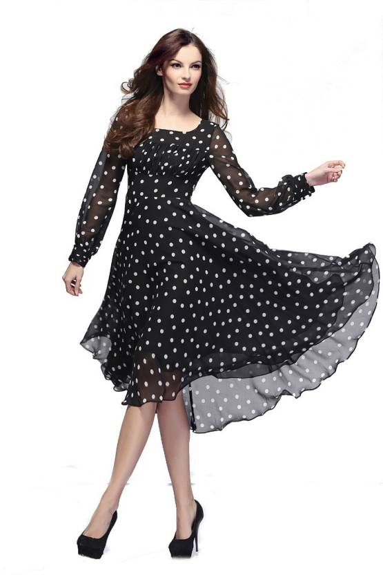 Crease & Clips Women's Fit and Flare Black Dress