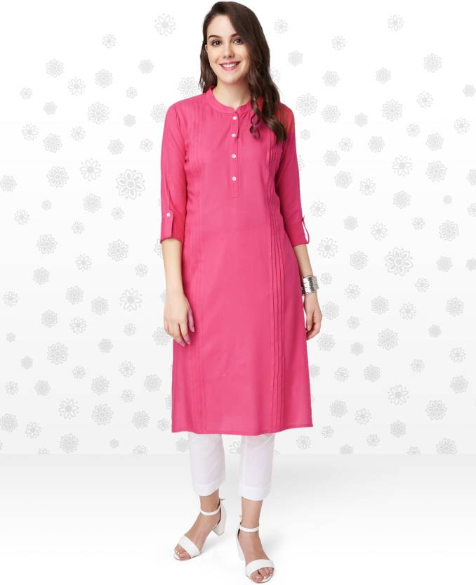 Anmi Solid Women's Straight Kurta  (Pink)