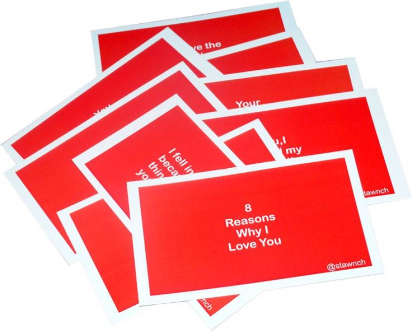 Stawnch 8 REASONS WHY I LOVE YOU Anniversary Day Greeting Cardslovers Cards Set Of Size 6 X 35 Card Red Pack 1