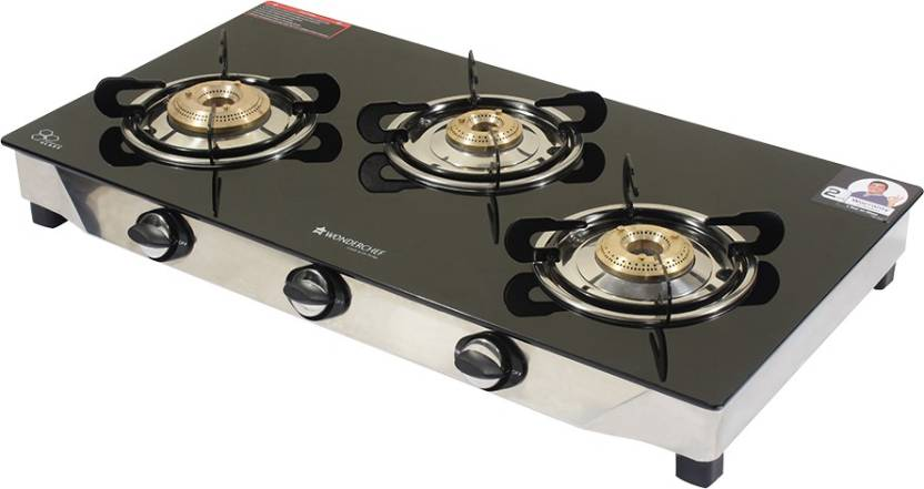 Wonderchef Ruby Glass Stainless Steel Manual Gas Stove 3 Burners