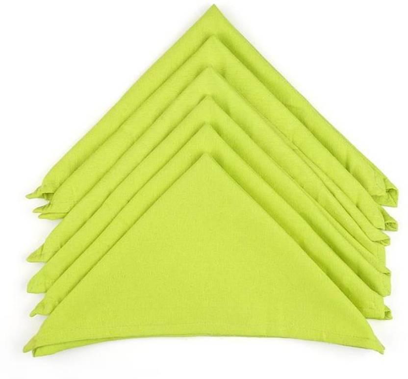 Soumya Furnishings Solid Cotton Lime Green Color Table Napkin Light Napkins