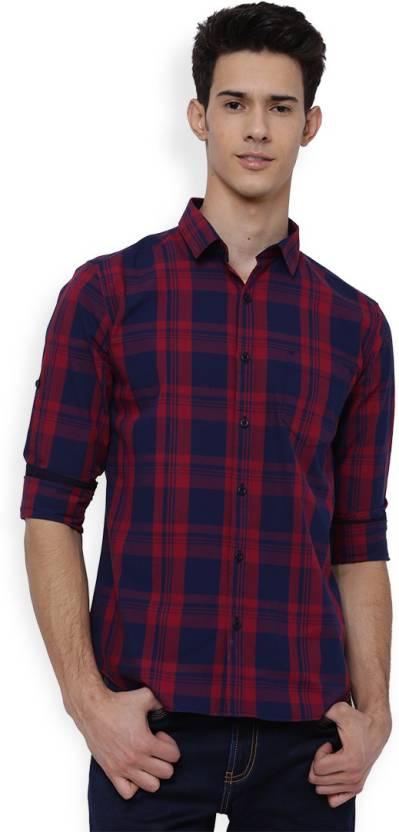 Highlander Mens Checkered Casual Dark Blue, Red Shirt