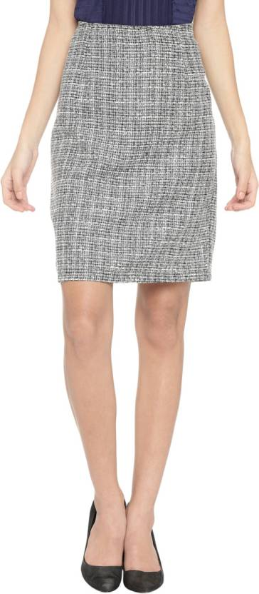 75200d642a64 Annabelle by Pantaloons Self Design Women's Straight Grey Skirt ...
