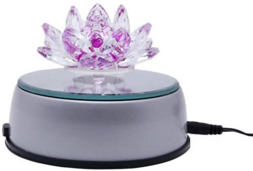 Blue Birds Crystal Lotus Flower With 4 Led Light Rotating Stand
