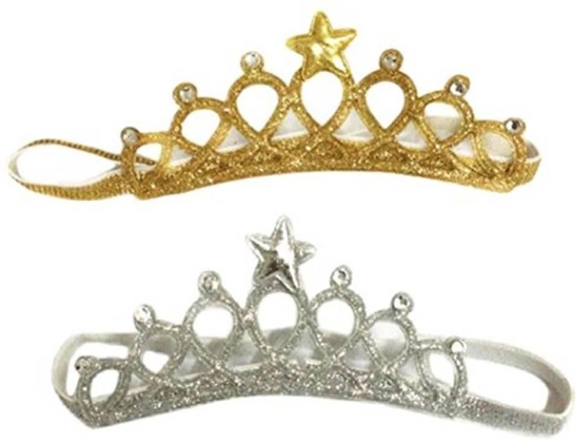Ziory 2Pcs Golden   Silver Baby Girl Baby Boy Unisex Rhinestone Crown  Headbands Toddler Princess Headband Hair Accessories Birthday Gift Tiara  Crown ... 5cbaca1f258