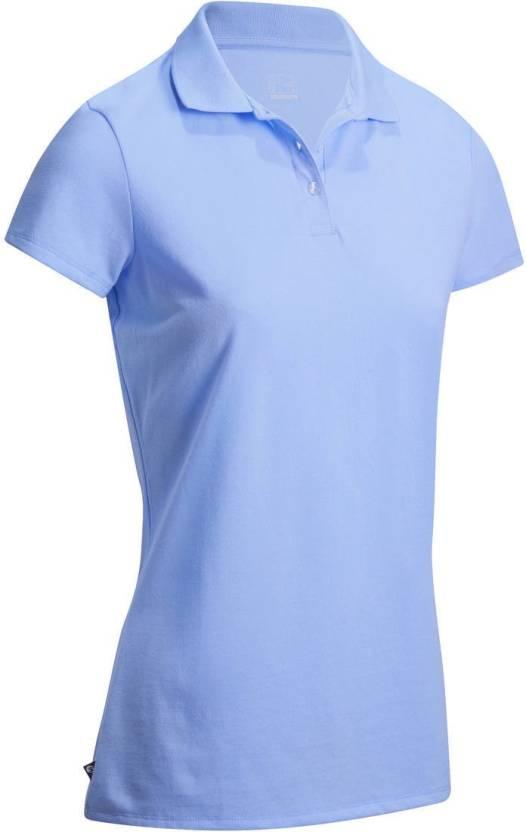 179b8ee0c04 Decathlon - INESIS Solid Women Polo Neck Blue T-Shirt - Buy Decathlon -  INESIS Solid Women Polo Neck Blue T-Shirt Online at Best Prices in India