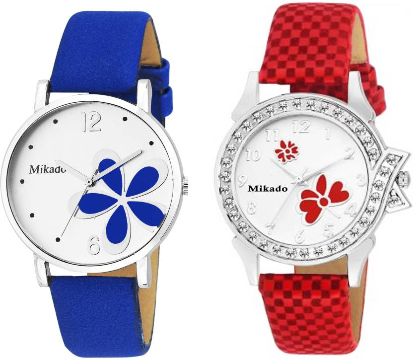 Mikado Multicolor flora and red butterfly combo watches for women and girls Watch  - For Girls