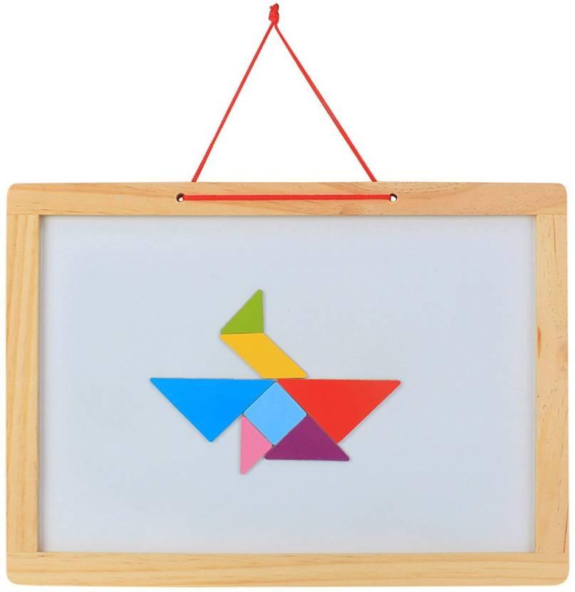 Emob Wooden Frame Double Sided Magnetic Whiteboard & Black Slate ...