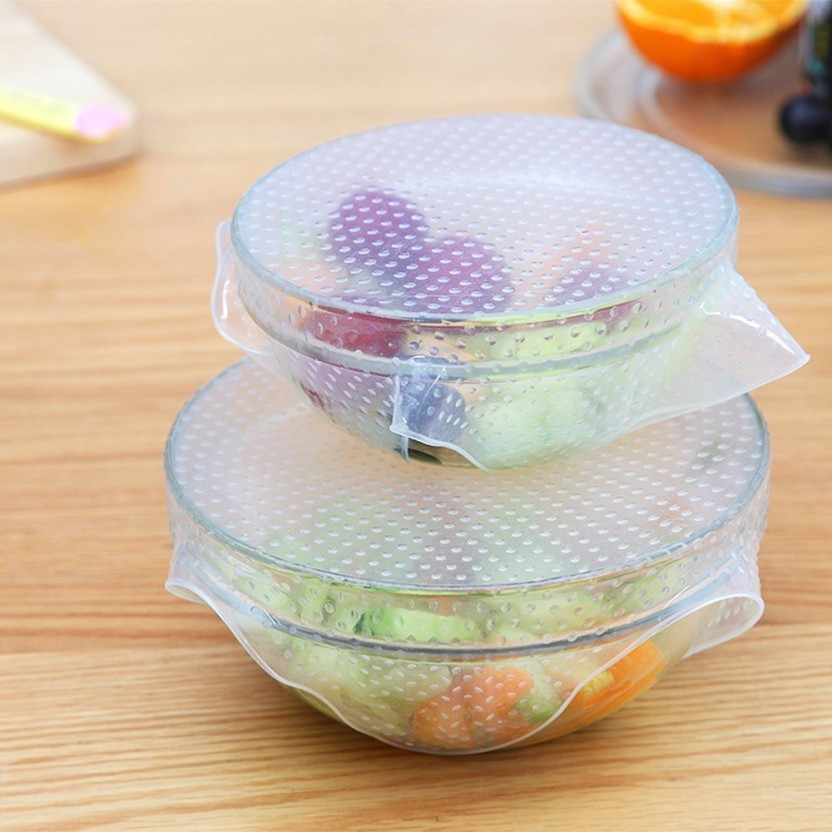 4X Silicone Wraps Kitchen Seal Cover Stretch Cling Film Fresh Food Keep Tool LG