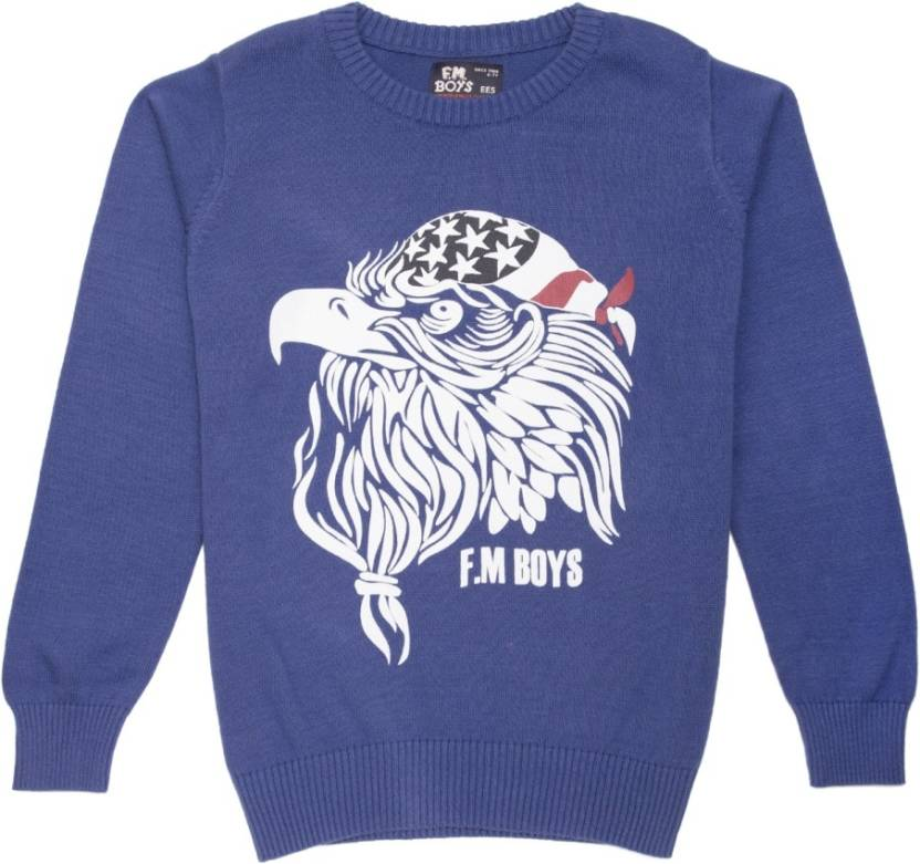 a2f6c741a2a Flying Machine Graphic Print Round Neck Casual Boys Blue Sweater - Buy  Flying Machine Graphic Print Round Neck Casual Boys Blue Sweater Online at  Best ...