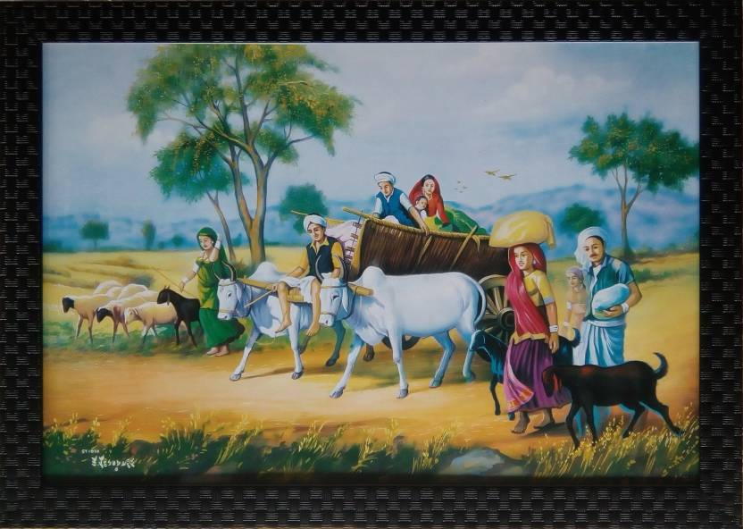 Art Collection Eautiful Rajasthani Village Culture Scenary Ink Painting