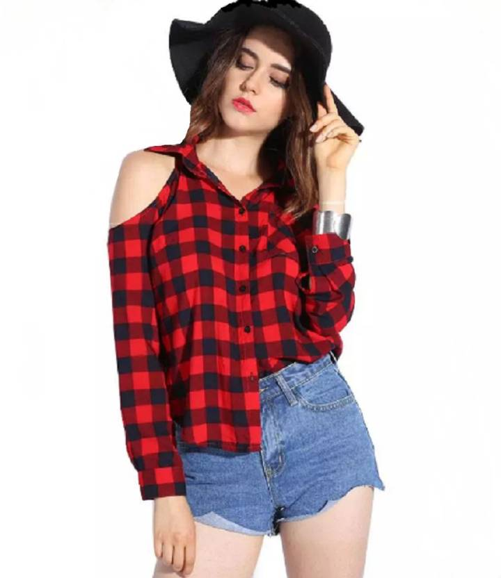 a1b72ea1 POISON IVY Women's Checkered Casual Red, Black Shirt - Buy POISON IVY  Women's Checkered Casual Red, Black Shirt Online at Best Prices in India |  Flipkart. ...