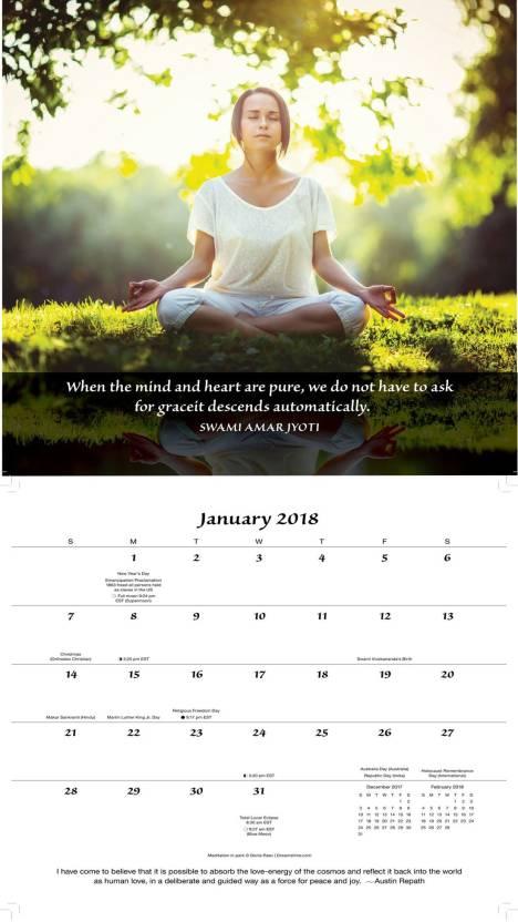 JL Collections Prayer & Meditation Wall Calendar 2018 2018 Wall Calendar