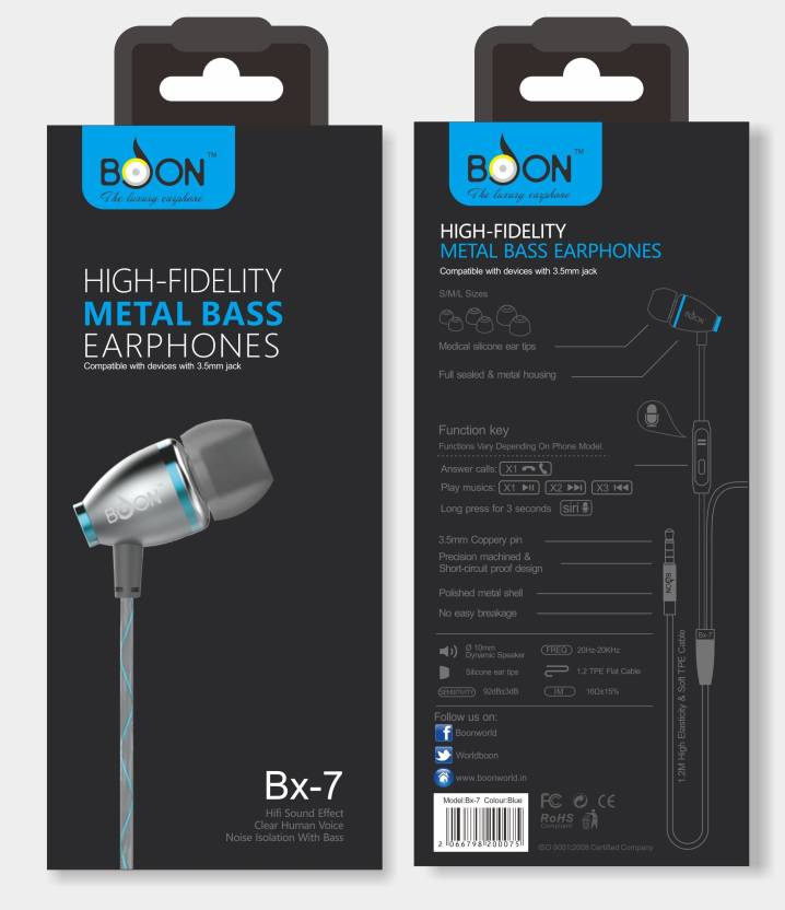 Boon BX-7 Wired Headset with Mic Price in India - Buy Boon