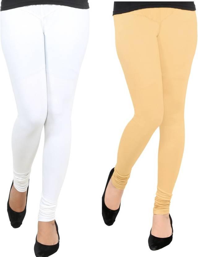 861f91d38a AGSfashion Women's Lycra Cotton Leggings (White & Skin_Free Size)-PO2 Churidar  Legging (White, Solid)