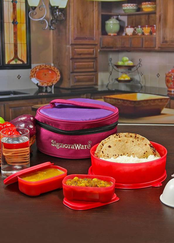 Signoraware Classic Lunch  Sappire  with Bag 3 Containers Lunch Box 1080 ml
