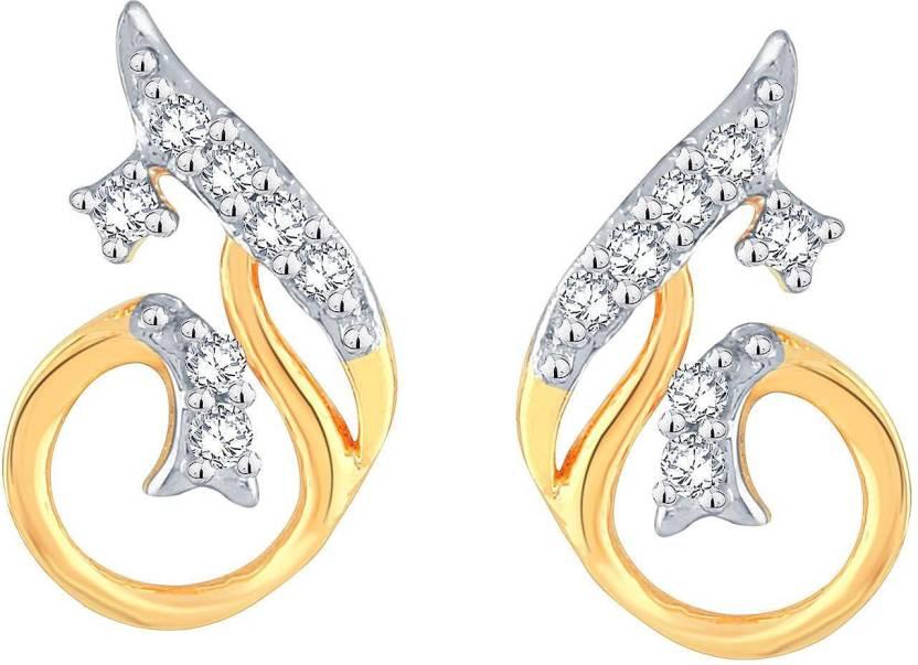 Avnni By Nakshatra Designer Yellow Gold 14kt Diamond Stud Earring