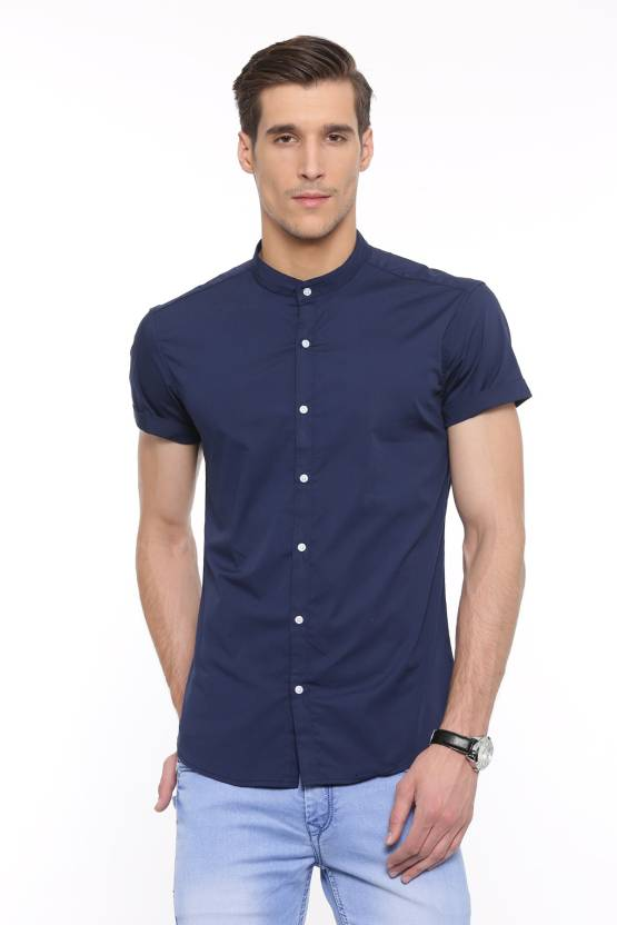 1bc737664adc Showoff Men s Solid Casual Chinese Collar Shirt - Buy Navy Blue Showoff  Men s Solid Casual Chinese Collar Shirt Online at Best Prices in India