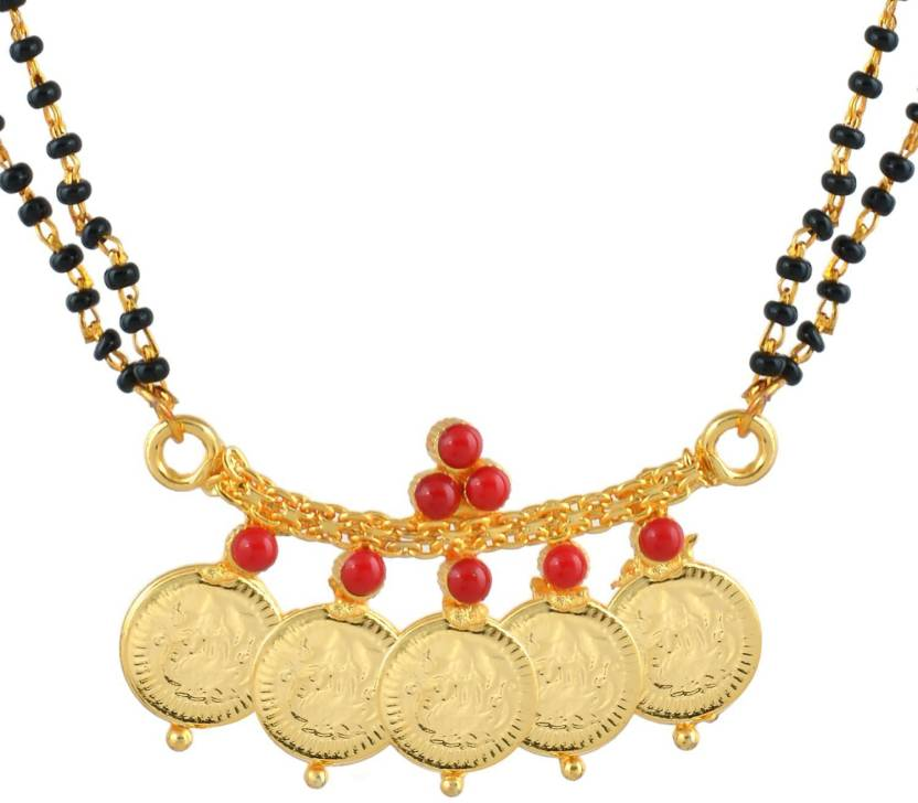 9bab76c83bc2c Dzinetrendz Gold coated over Brass,Coral Cabs studded 5 Coin Laxmi ...