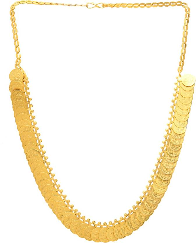 a99f055b62dff Dzinetrendz Gold coated over Brass short Laxmi Coin Necklace Gold ...