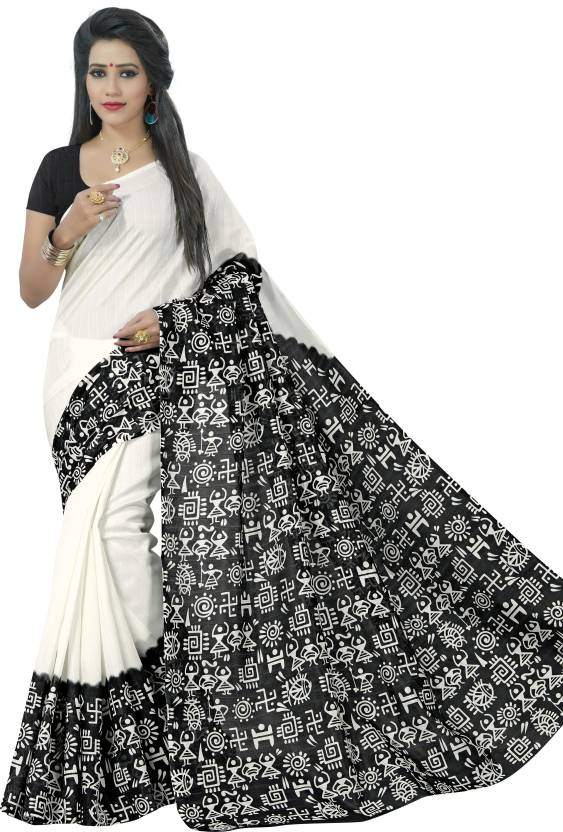 28863470c8 Jaanvi Fashion Printed Hand Batik Printed Silk Saree (Black, White)