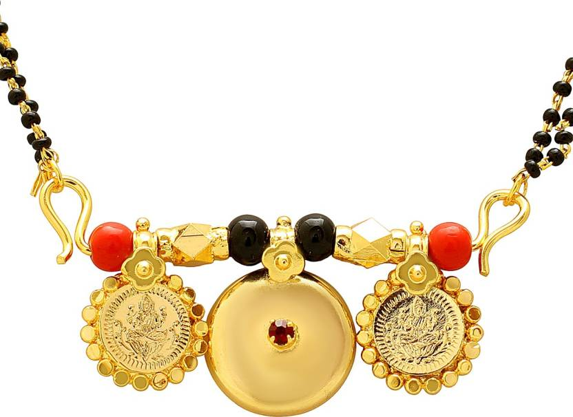 81a338c3095a0 Dzinetrendz Gold coated over Brass 3 wati Laxmi coin Faux ruby ...