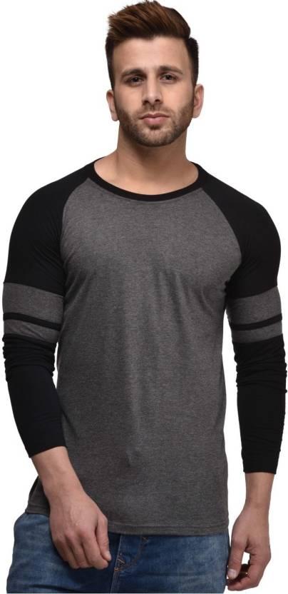 Cenizas Solid Mens Round Neck Grey T-Shirt