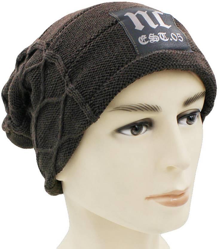4174ca762e6 STAR FABRIC Solid WINTER WOOLEN CAP INSIDE FUR MATERIAL BEANIE LONG CAP FOR  BOYS