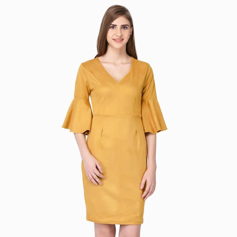 d5486865085f Ellemora Women Bodycon Yellow Dress - Buy Ellemora Women Bodycon Yellow  Dress Online at Best Prices in India