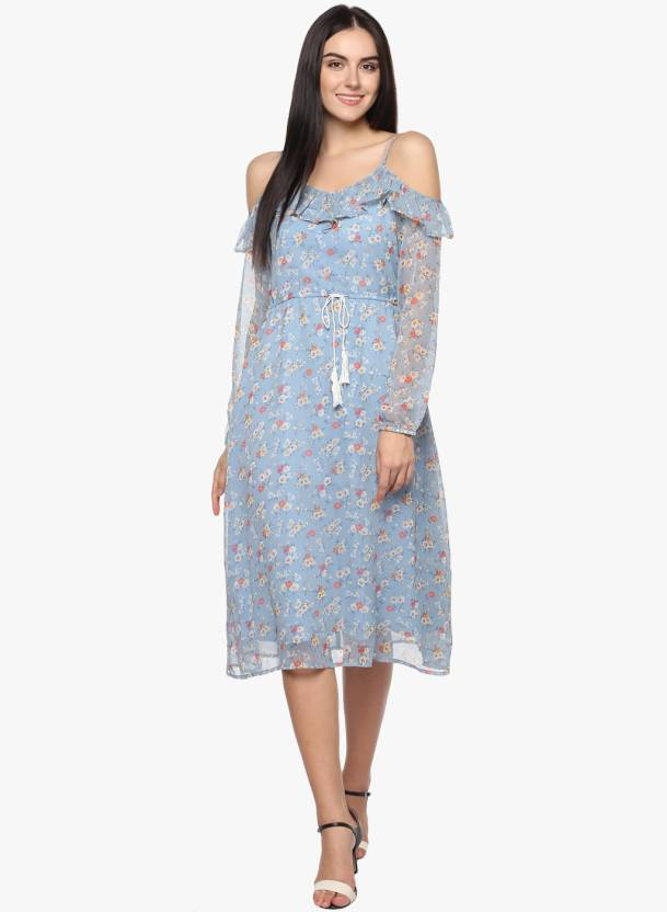0cdfdcb9e20d Abiti Bella Women s A-line Light Blue Dress - Buy Abiti Bella Women s A-line  Light Blue Dress Online at Best Prices in India