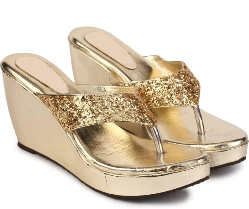 15dc55248b Do Bhai Women Golden Wedges - Buy Do Bhai Women Golden Wedges Online at  Best Price - Shop Online for Footwears in India | Flipkart.com