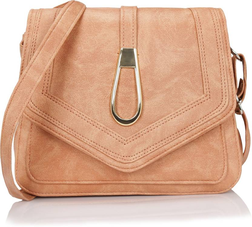 911ccf5d4c Kleio Women Casual Pink PU Sling Bag Peach - Price in India ...