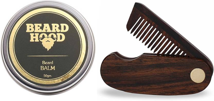 Beardhood 100% Natural Beard Balm (50g) & Folding Beard Comb Price