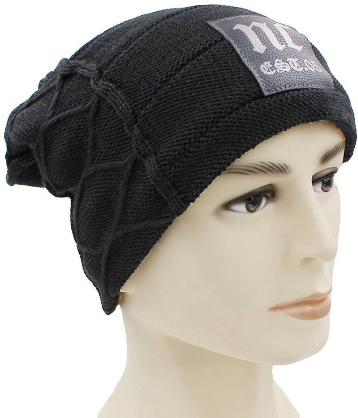 STAR FABRIC Self Design WINTER WOOLEN CAP INSIDE FUR MATERIAL BEANIE LONG  CAP FOR BOYS 1775263a064