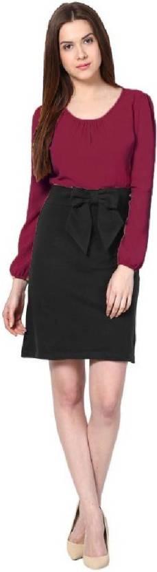 Crease & Clips Women's Peplum Purple Dress