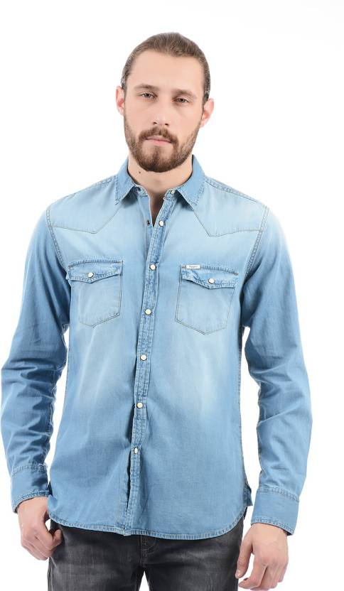 7a10e887046 Pepe Jeans Men s Solid Casual Blue Shirt - Buy Pepe Jeans Men s Solid  Casual Blue Shirt Online at Best Prices in India