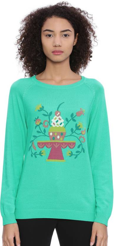 d49bda059ec5c Chumbak Printed Round Neck Casual Women Green Sweater - Buy Chumbak Printed  Round Neck Casual Women Green Sweater Online at Best Prices in India