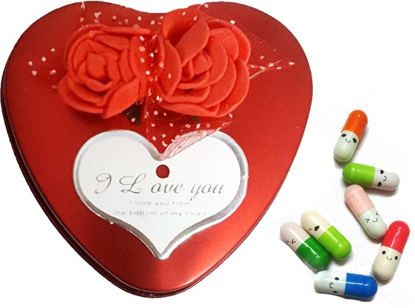 SSEmp Heart Box with Smiley Message capsules - Gift for love