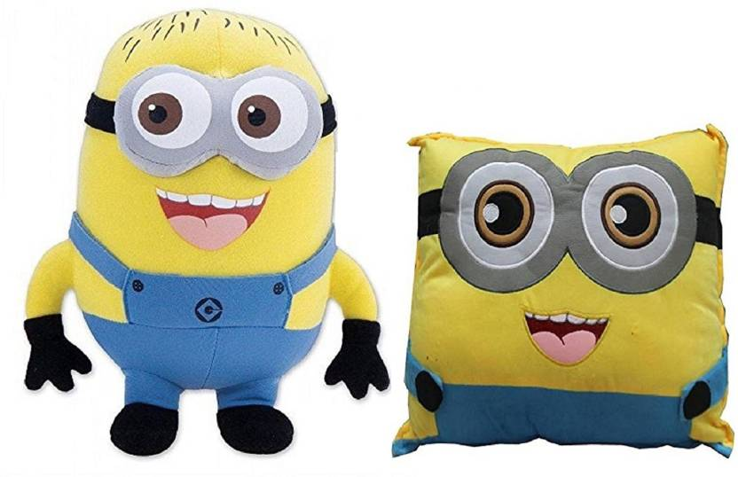 kaykon combo of minion soft toy and minion pillow stuffed plush for