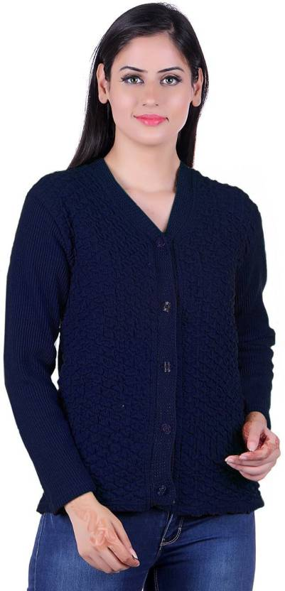 d09da339c0 eWools Solid V-neck Casual Women Blue Sweater - Buy eWools Solid V-neck  Casual Women Blue Sweater Online at Best Prices in India