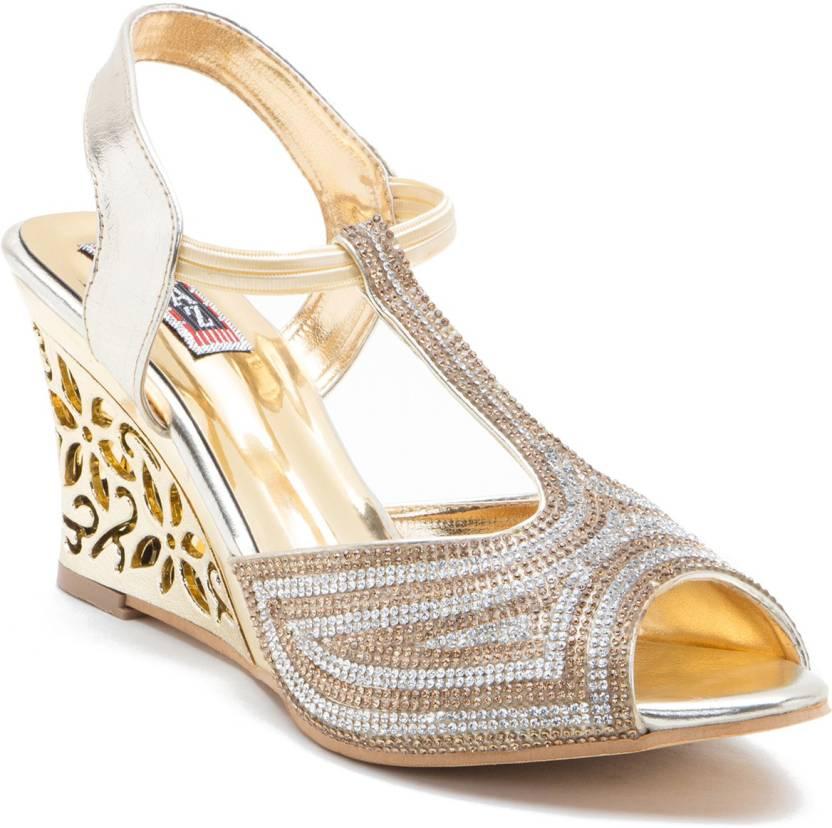 b9be25e564 NaaZ Women Golden Heels - Buy Golden Color NaaZ Women Golden Heels Online  at Best Price - Shop Online for Footwears in India | Flipkart.com