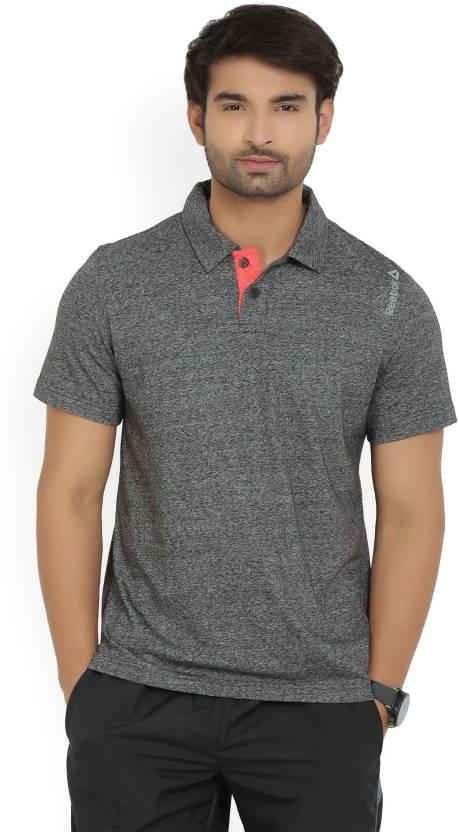 Reebok Solid Mens Polo Neck Black, Grey T-Shirt