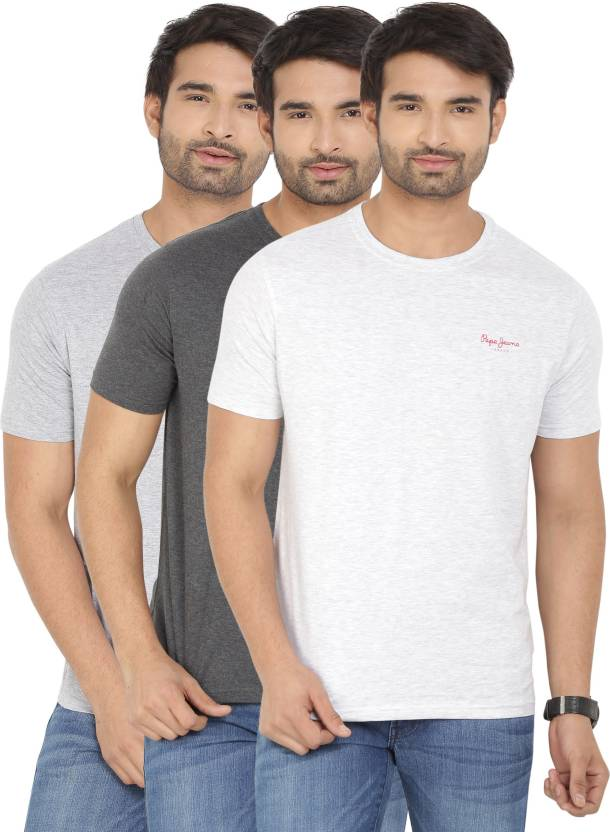 Pepe Jeans Solid Mens Round Neck White, Grey T-Shirt
