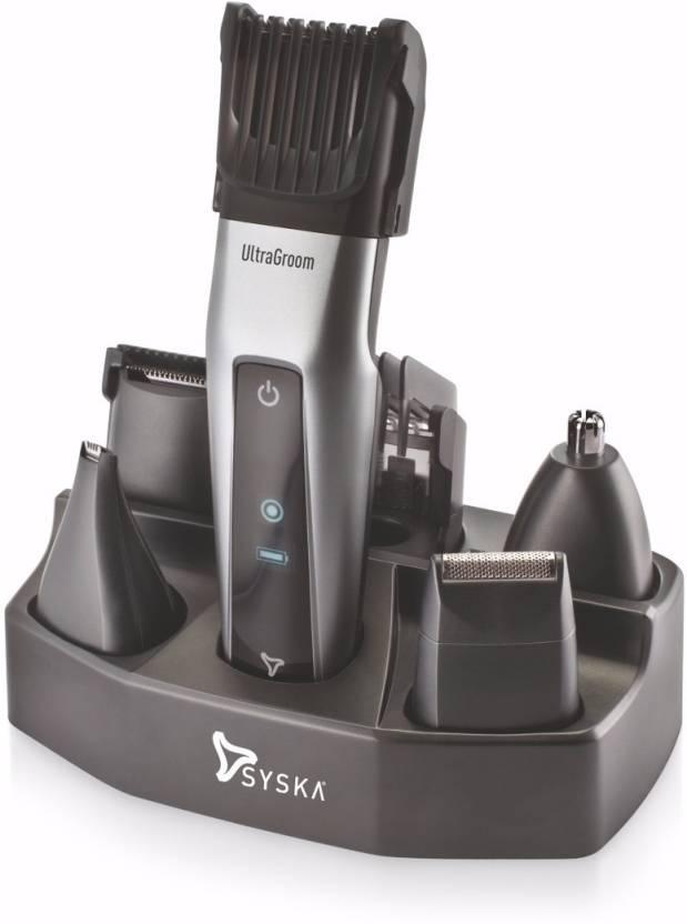 Syska HT3052K Corded & Cordless Trimmer For Men  (Black, Silver)