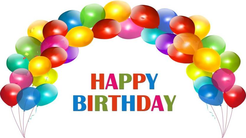 happy birthday in ballon hd photo poster on large print 36x24 inches