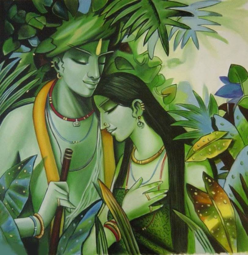 Most Beautiful Painting Radha Krishna On Large Print 36x24 Inches