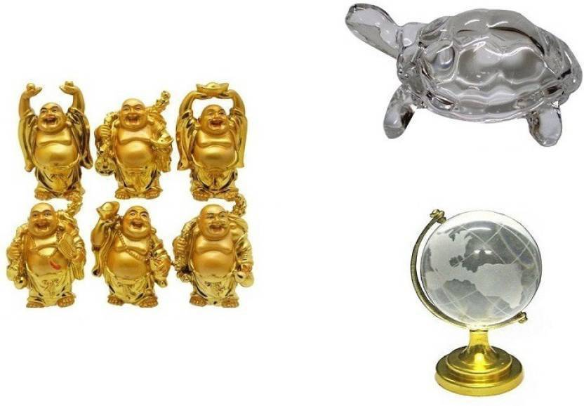 Gifts By Meeta Combo 8 in 1 Set of Feng Shui Chinese Happy Man / Laughing  Buddha - 6 different Poses Set Figurine, Crystal Turtle Tortoise for Vastu,