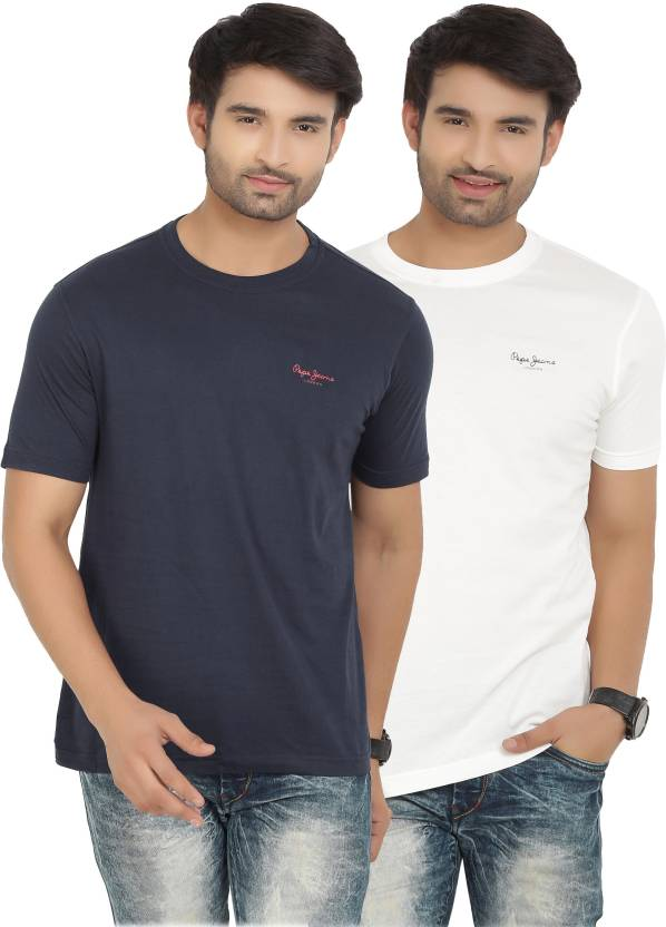 Pepe Jeans Solid Mens Round Neck White, Blue T-Shirt