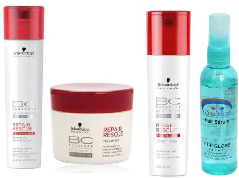 fbbe3293dd Schwarzkopf BC BonaCure Repair Rescue Masque + Shampoo + Conditioner with  Pink Root Hair Serum (Set of 4)